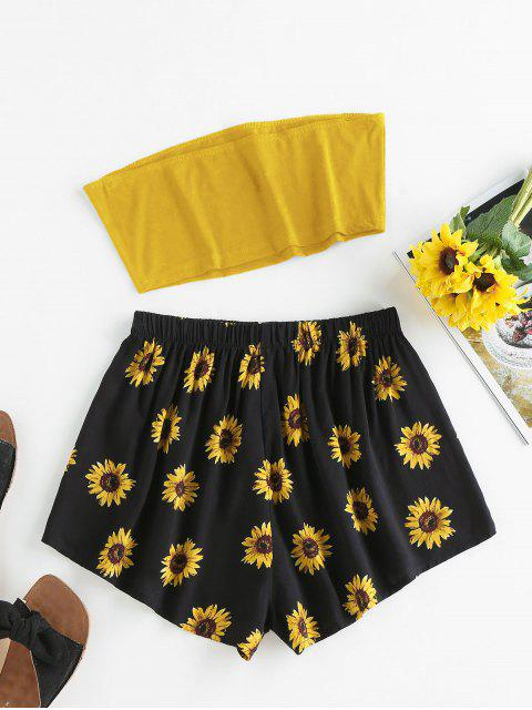 women ZAFUL Sunflower Print Strapless Wide Leg Shorts Set - DEEP YELLOW S Mobile