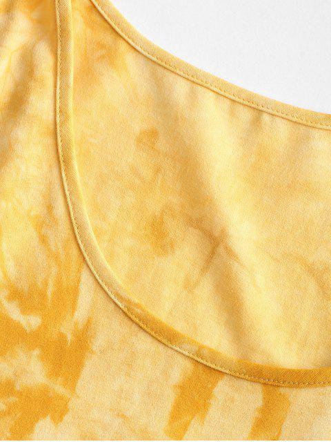 chic Tie Dye Bodycon Tank Dress - YELLOW S Mobile