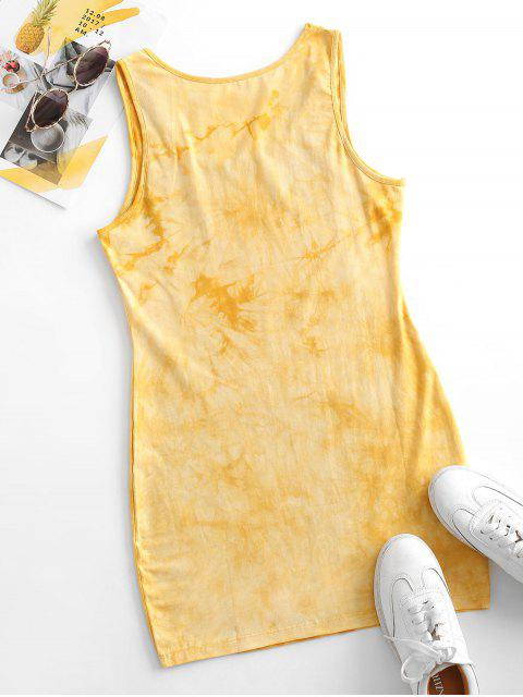 Tie Dye Bodycon Tank Dress - الأصفر S Mobile