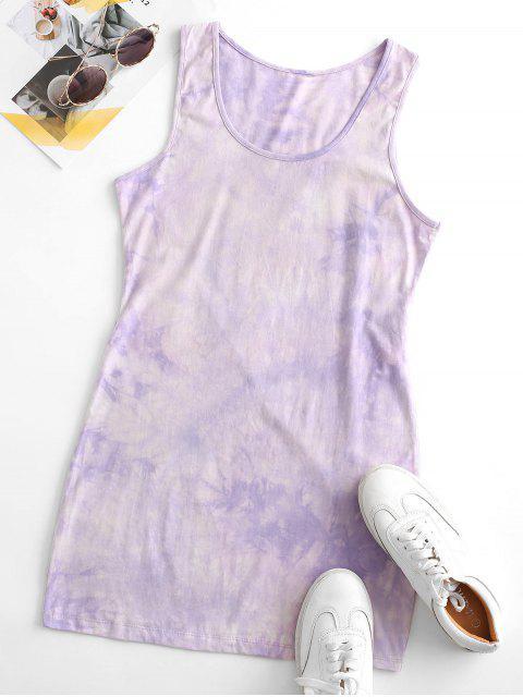 fashion Tie Dye Bodycon Tank Dress - PURPLE M Mobile