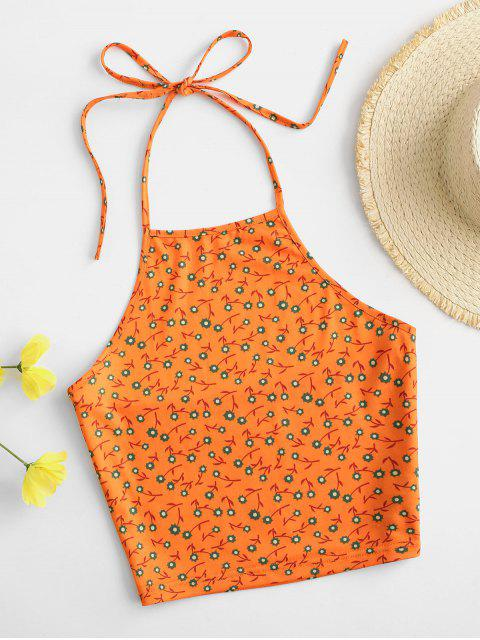 Haut Floral à Col Halter - Orange XL Mobile
