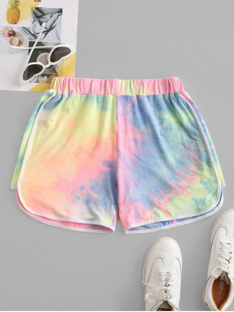 ladies Neon Tie Dye Dolphin Shorts - GREEN M Mobile