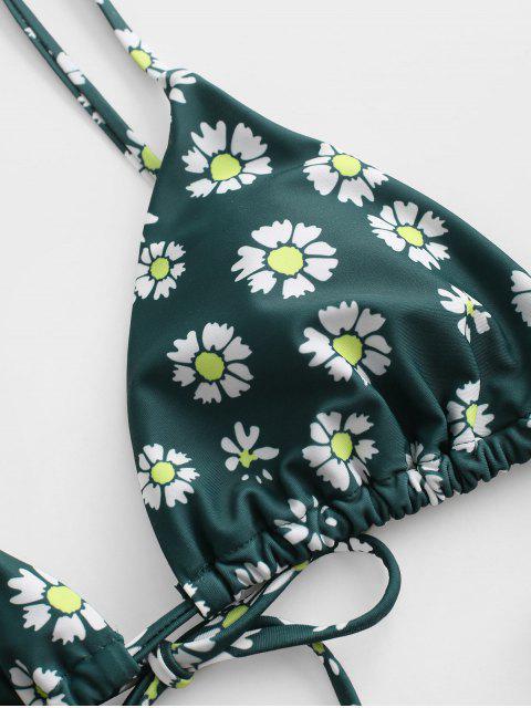 ZAFUL Biquíni Floral com Cordões e Cintura Baixa - Verde profundo S Mobile