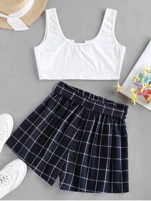 fashion ZAFUL V Notched Grid Paperbag Shorts Set - PEACOCK BLUE S Mobile