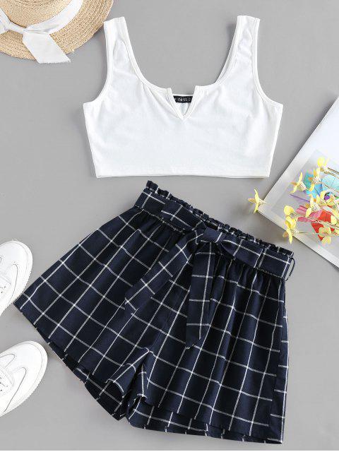 Top e Pantaloncini Paperbag di ZAFUL - Blu pavone S Mobile