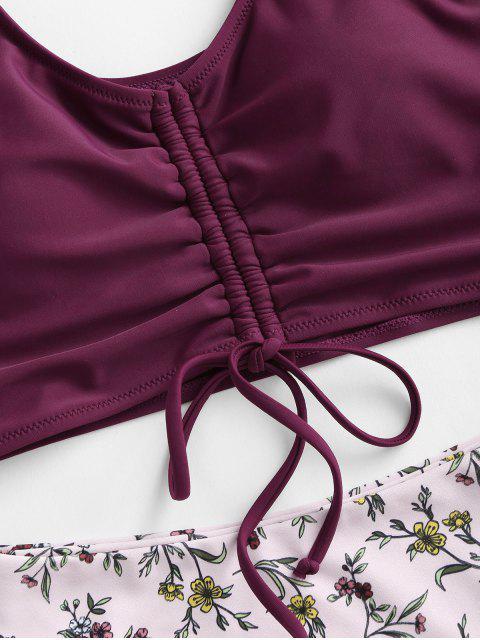 ZAFUL Tankini de Cintura Alta con Cordones Frontales - Color rojo oscuro S Mobile