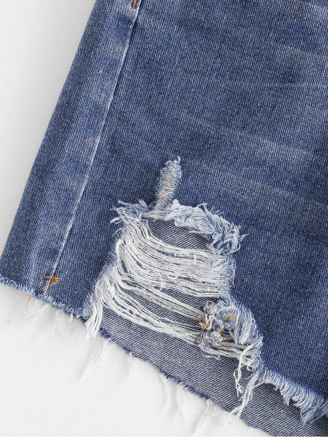 online Distressed Pocket Jean Shorts - BLUE M Mobile