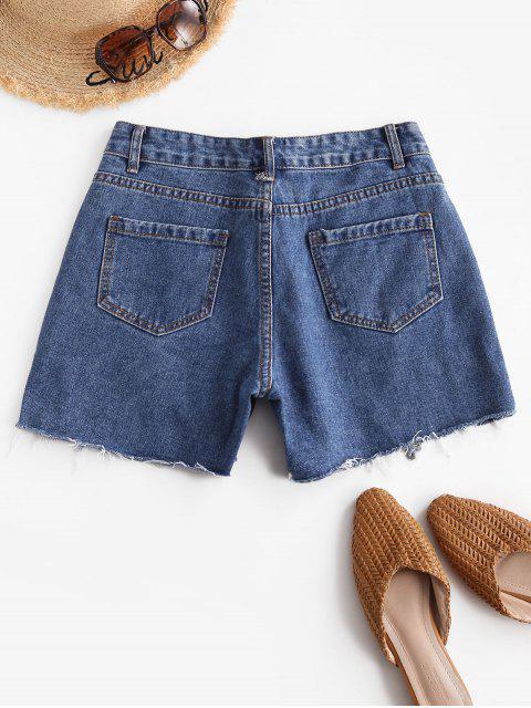hot Distressed Pocket Jean Shorts - BLUE XL Mobile