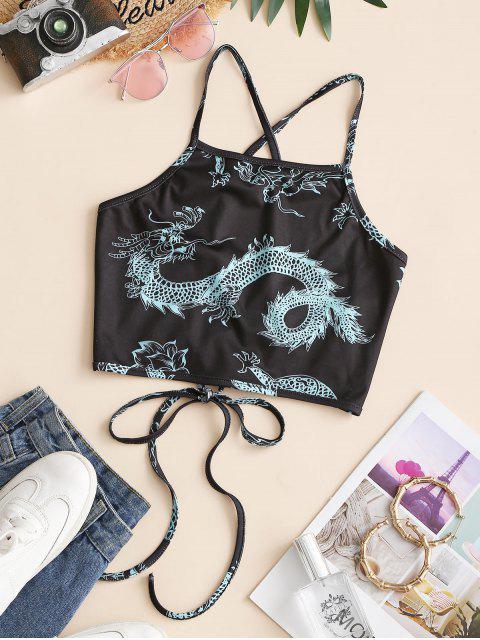 ZAFUL Oriental com Impressão de Dragão Camiseta Cortado - Preto XL Mobile