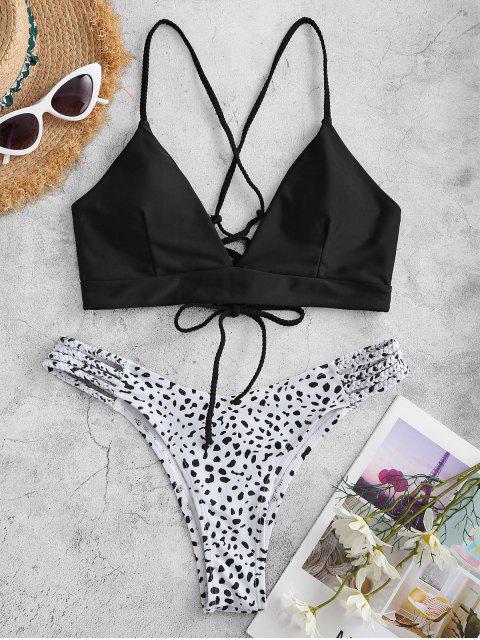 ladies ZAFUL Dalmatian Dot Print Plaited Lace-up Bikini Swimwear - BLACK M Mobile