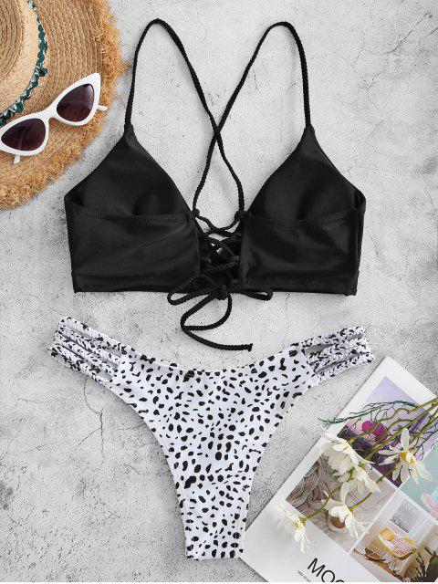 Costume da Bagno Bikini Ruvido Stampato a Pois con Lacci Intrecciati di ZAFUL - Nero L Mobile