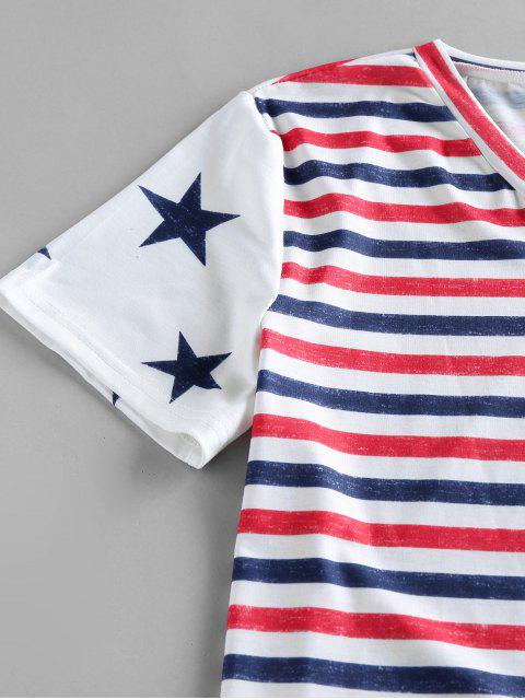 outfit Striped Stars Print Pockets Patriotic T Shirt - WHITE M Mobile