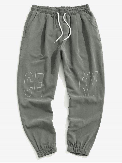 Pantalones Trotar Cintura Elástica Estampado Letra - Gris Oscuro 4XL Mobile