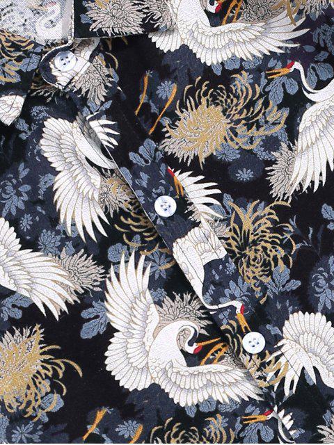 Chemise Grue Chinoise Imprimée Boutonnée à Manches Courtes - Multi-A 2XL Mobile