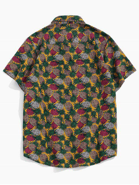 unique Tropical Pineapple Print Short Sleeve Button Up Shirt - YELLOW XL Mobile