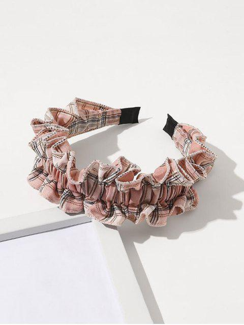 buy Plaid Print Ruffle Hairband - LIGHT PINK  Mobile