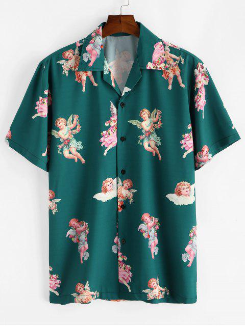 online Paradise Floral Angel Print Beach Shirt - DEEP GREEN M Mobile