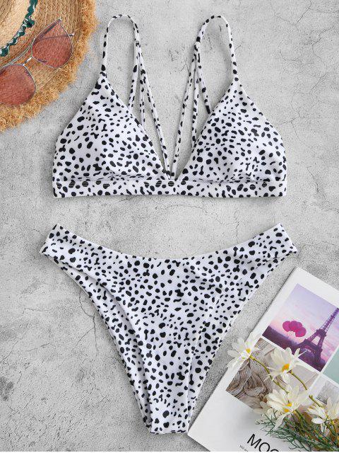 Costume da Bagno Bikini Asimmetrico a Pois con Stampa a Pois di ZAFUL con Spalline - Bianca L Mobile