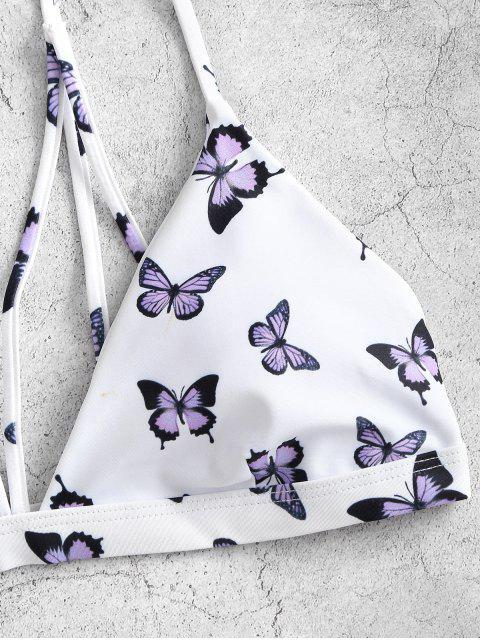 unique ZAFUL Butterfly Print Back Strappy Bikini Swimwear - WHITE S Mobile