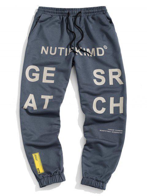Pantalones Deportivos Estirables Cintura Elástica Estampado Letras - Niebla Azul 2XL Mobile