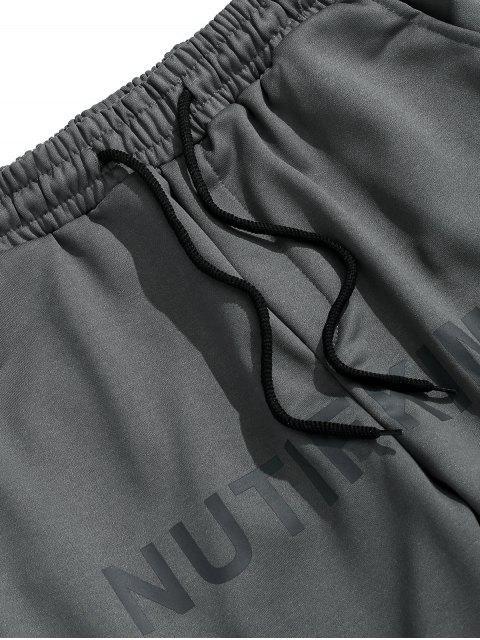 Buchstabe Grafik Elastische Taille Jogginghose - Dunkelgrau 3XL Mobile