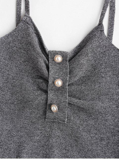 ladies Faux Pearl Button Crop Knit Cami Top - DARK GRAY ONE SIZE Mobile