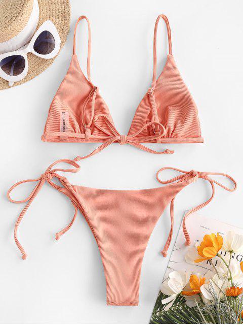 buy ZAFUL Ribbed Tanga String Bikini Swimwear - LIGHT ORANGE S Mobile