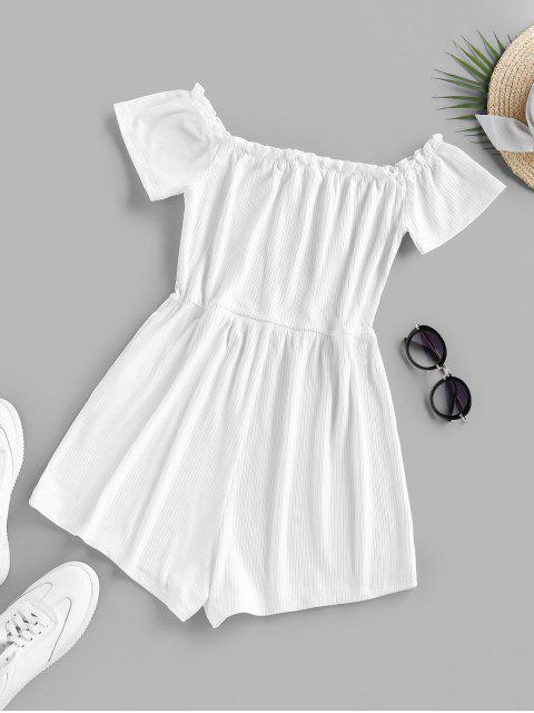 ladies ZAFUL Ruffle Off The Shoulder Ribbed Romper - WHITE M Mobile