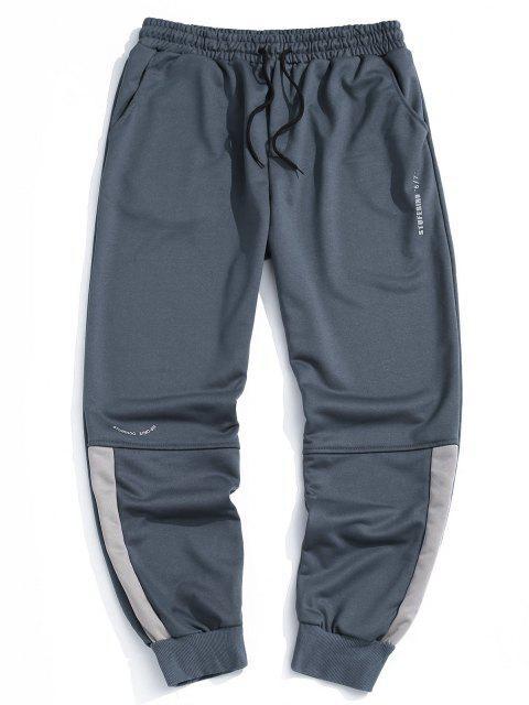Pantalones con Estampado de Letras y de Color Bloque - Niebla Azul 2XL Mobile