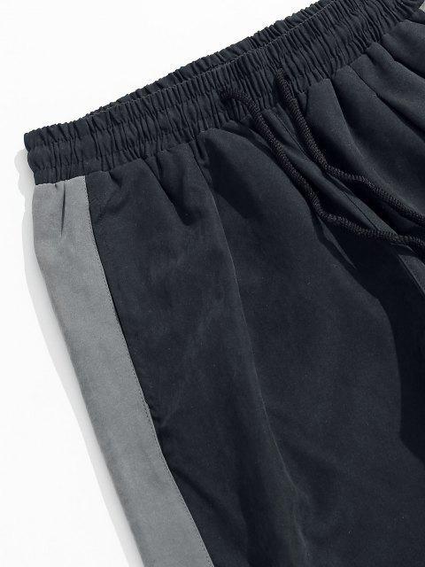 Pantalones Jogger con Estampado de Letras y de Color Bloque - Negro 2XL Mobile