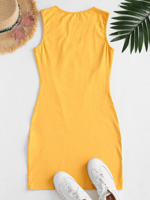 chic V Neck Butterfly Floral Tank Dress - YELLOW S Mobile