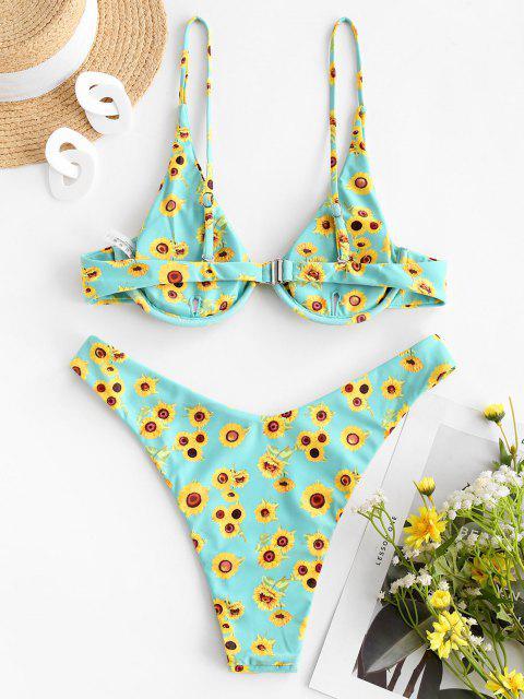 fashion ZAFUL Sunflower Print Underwire High Leg Bikini Swimwear - GREEN L Mobile