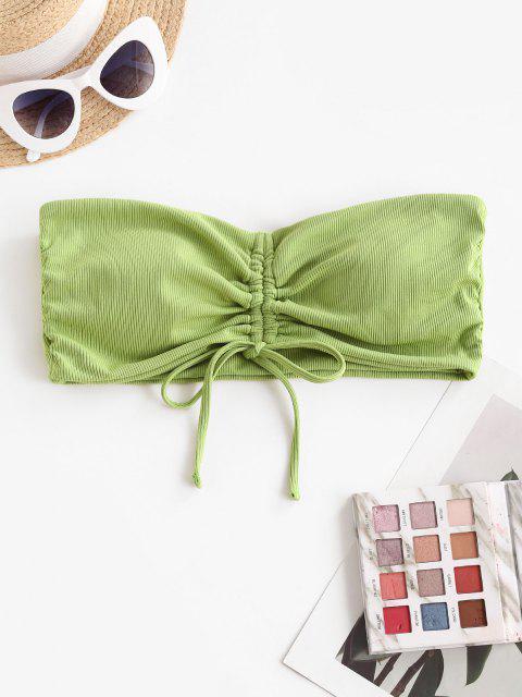 shop ZAFUL Ribbed Cinched Tie Bandeau Bikini Top - LIGHT GREEN M Mobile