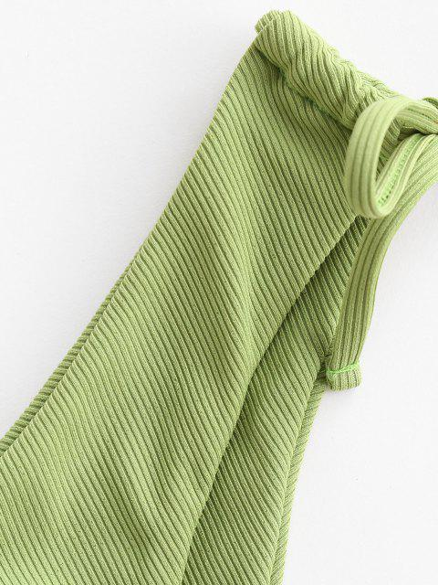 trendy ZAFUL Ribbed Cinched Tie Side Bikini Bottom - LIGHT GREEN M Mobile