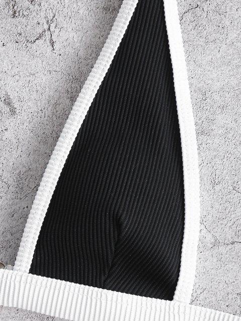 ZAFUL Strukturierte Gerippte Binding Bikini Badebekleidung - Schwarz M Mobile