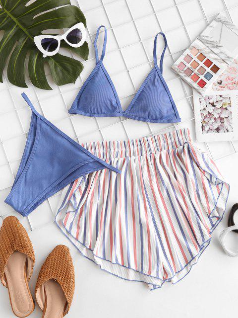 ZAFUL Maillot de Bain Bikini Drapeau Américain Côtelé Trois Pièces - Bleu de Soie S Mobile