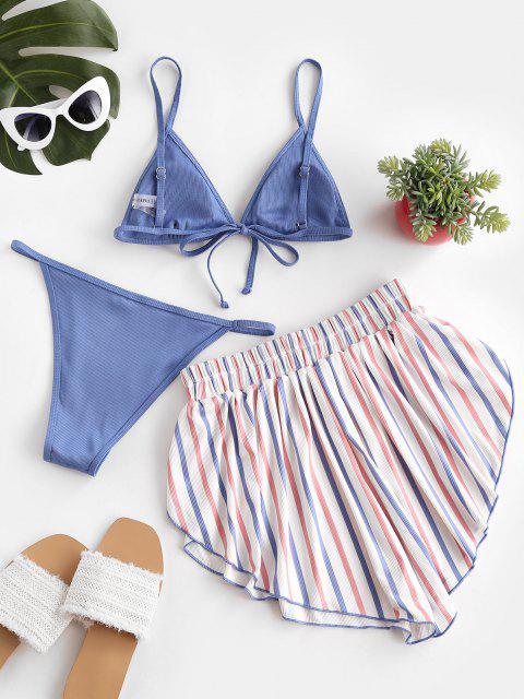 ZAFUL Patriotischer Amerikanische Flagge Gerippte Dreiteilige Stück Bikini Badebekleidung - Seiden Blau M Mobile