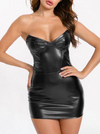 Bandeau Faux Leather Mini Club Dress - Black M