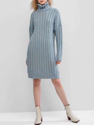 ZAFUL Ribbed Turtleneck Drop Shoulder Sweater Dress - Denim Blue S