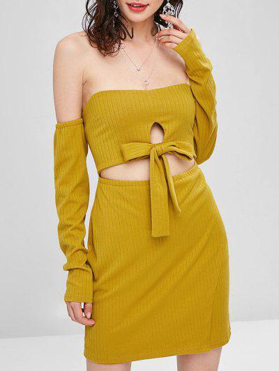 Cut Out Off Shoulder Long Sleeve Dress - Golden Brown L