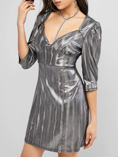 ZAFUL Sweetheart Party Glittery Reflective Mini Dress - Silver S