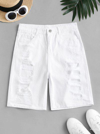 Distressed High Waisted Denim Shorts - White L