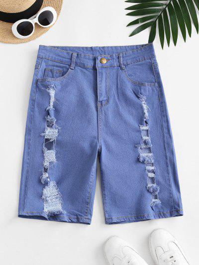 Distressed High Waisted Denim Shorts - Blue L