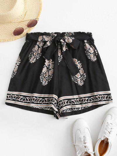 Leaf Print Paperbag Shorts - Black M
