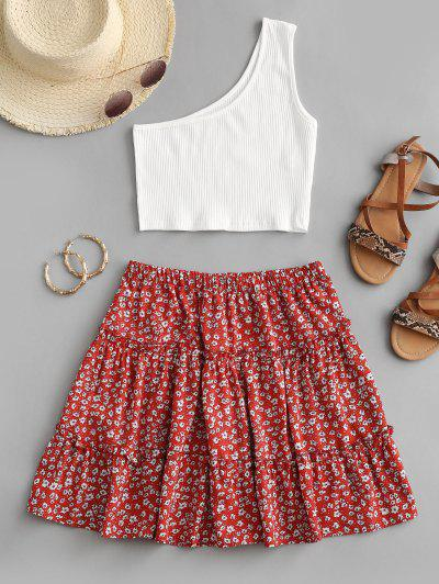 Ribbed One Shoulder Ditsy Print Tiered Skirt Set - Red S