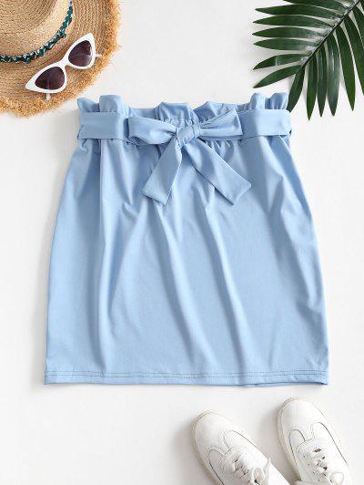 Sheath Paperbag Skirt - Light Blue S