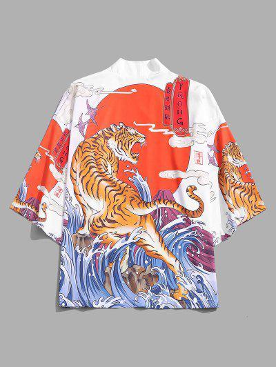 Tiger Ocean Waves Print Open Front Kimono Cardigan - White M