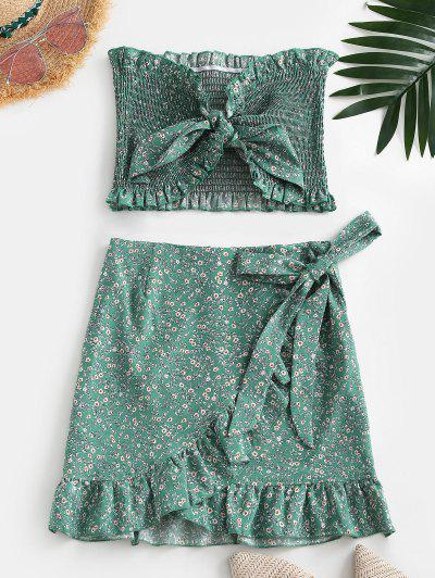 Tiny Floral Smocked Ruffles Skirt Set - Green M