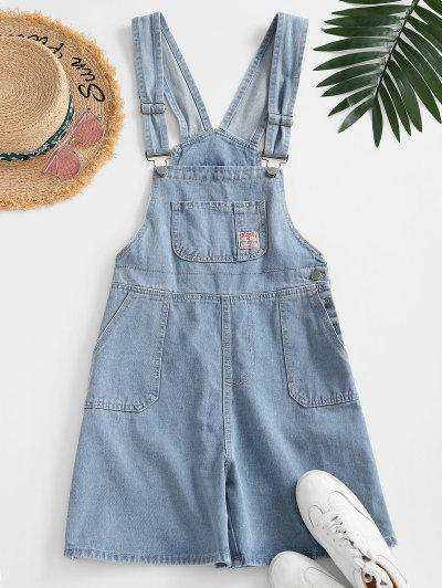 Pockets Denim Overalls Romper - Light Blue L