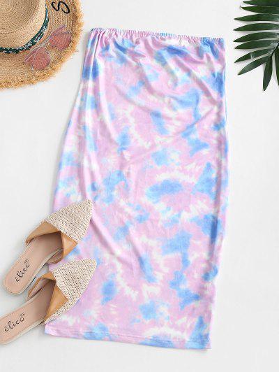 Tie Dye Tube Bodycon Dress - Light Purple S